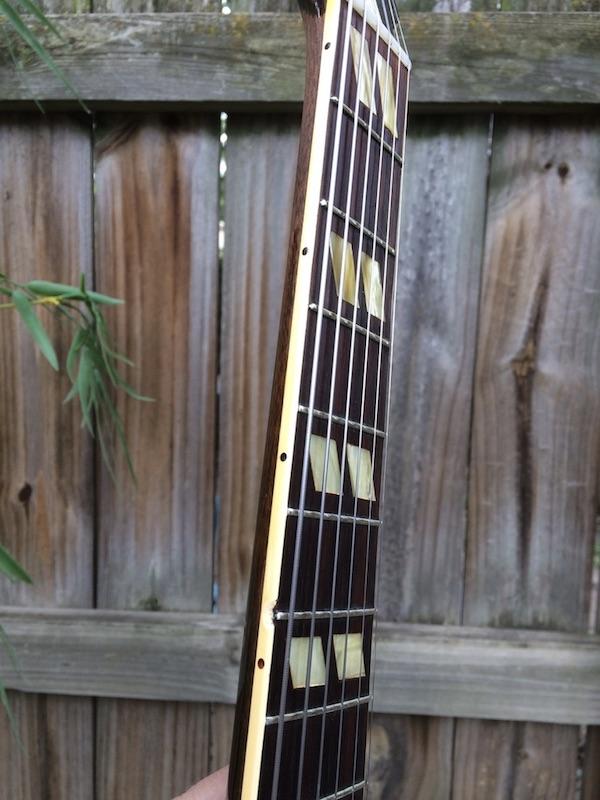 1956 Gibson ES 175-chip-left-side-neck-binding-6th-fret-jpeg