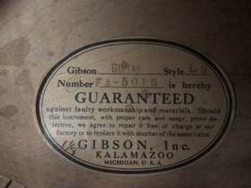 1940 Gibson L-5N formerly owned by Dave Barbour-label-jpg