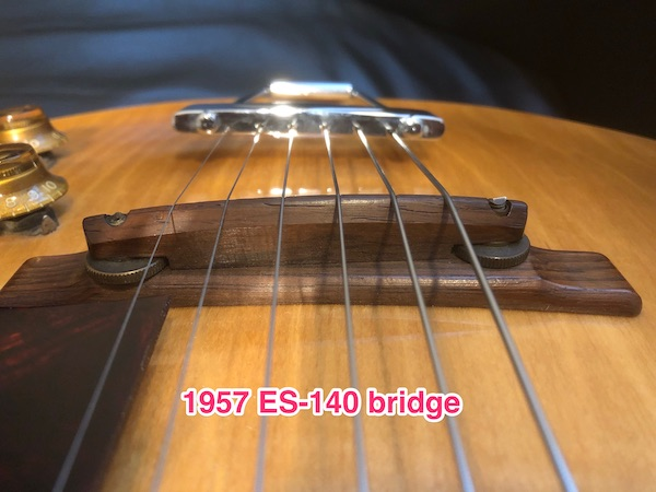 1956/7 Gibson ES-140T - Natural-57bridge-jpg