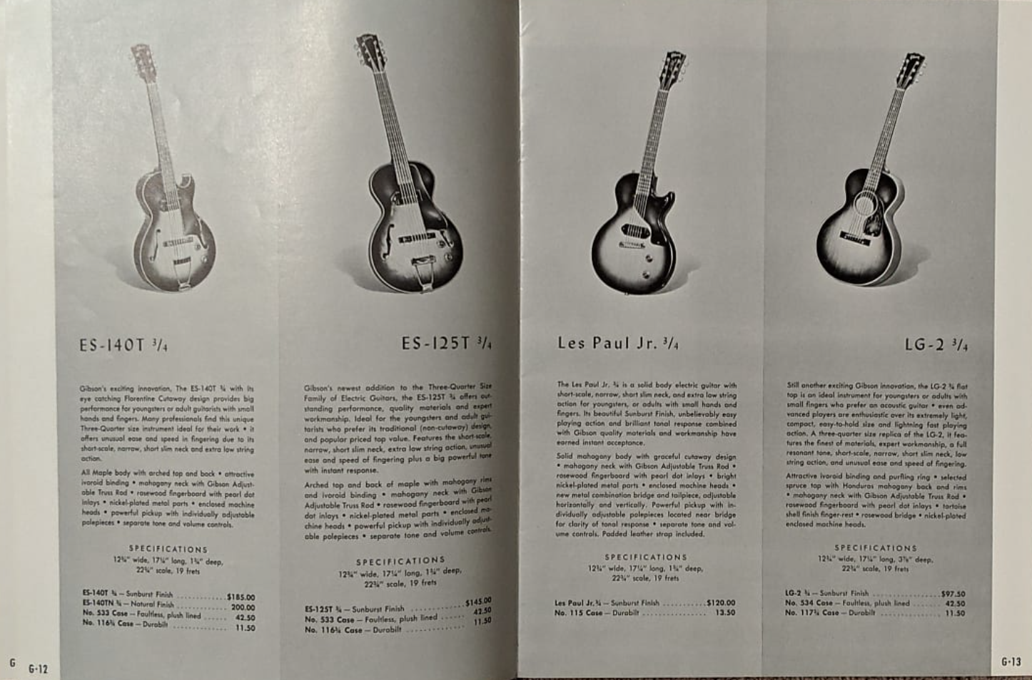 1956/7 Gibson ES-140T - Natural-59-3-4-gibson-png