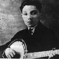 The young Django Reinhardt with a banjo