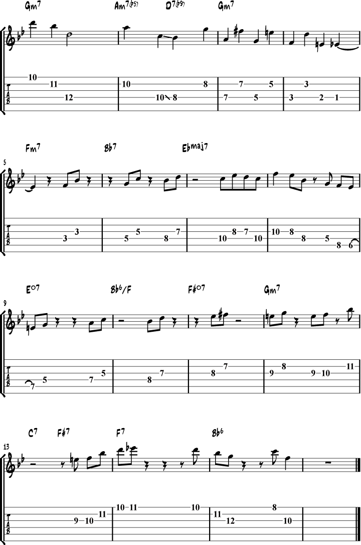 Jim Hall Youd Be So Nice to Come Home to Solo Lick Transcription