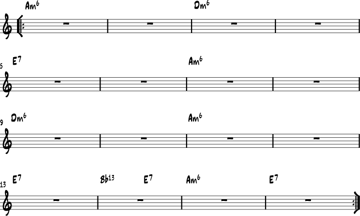 Minor Swing chord progression