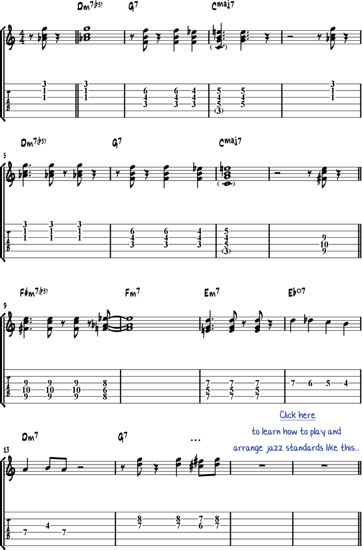 Night day solo jazz guitar arrangement night and day guitar tabs hexwebz Choice Image