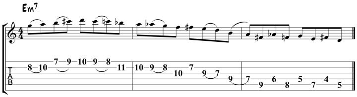 Guitar jazz lick